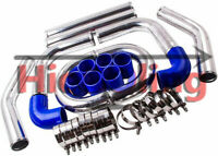 "QLD For Universal Intercooler Turbo 2"" Piping pipe Kit + Blue hose kits 51mm"