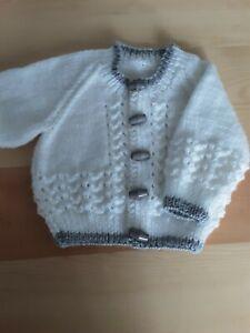 Hand Knitted baby boy cardigan 0/3 mths