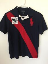Boys  Navy Blue Polo Ralph Lauren Flag Big Pony Knit Shirt Sz L (14-16) (LI24)