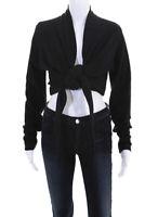 Donna Karan New York Womens Long Sleeve Crop Wrap Blouse Top Black Size 10