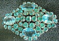 Rhinestone Tubular Clasp Brooch /Pin Rare Vintage Stunning Antique Czech Glass
