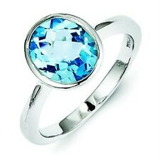 .925 Sterling Silver Checker Cut Genuine Blue Topaz Oval Bezel Ring Size 8