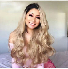 Ombre Blonde Synthetic Wigs Lace front Wigs Heat Resistant Full Wig For Women US