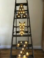 LED LIGHT CARNIVAL CIRCUS METAL ALPHABET LETTERS & NUMBERS RUST  33 CM A-Z, 0-9