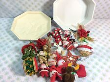 Vtg Christmas Ornament Lot Glitter Santa Retro Cute Xmas Decor In Plastic Tin
