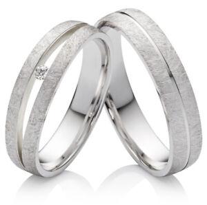 Eheringe Verlobungsringe Silber Ringe mit echtem Brillanten mit Gravur SPB112