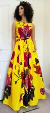 'Yellow Demona' Long African Printed Sleeveless Dress 100% Wax Cotton UK