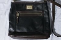 Tignanello Black & Brown Genuine Leather Purse Shoulder Bag RFID Protected