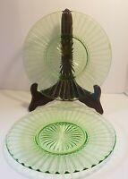 2 Vintage Green Depression Glass Luncheon Plate 'Ribbon'  by Hazel Atlas 1930's