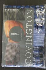 3 pack Woven Boxers COVINGTON COTTON Blend Men's Brief Trunks SMALL 28-30 S-5