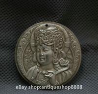 45MM China Miao Silver Puxian Bodhisattva Samantabhadra Guan Yin Amulet Pendant