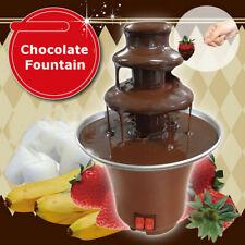 220V 3-Tier Chocolate Fondue Fountain Machine Waterfall Melting Stainless
