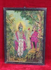 Old Vintage Ravi Varma Laxmi Vishnu Cotton Work Print Frame Collectible PO-19