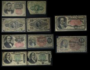 Fractional Currency Set of 10 Different Notes No Reserve Auction 99C Opening Bid