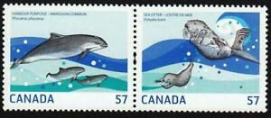 2010 CANADA # 2387a-b 📭🐬 MARINE LIFE 🦦📬🐬HARBOR PORPOISE & OTTER🦦 MNH PAIR