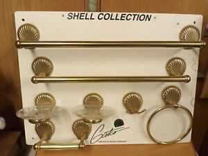 Vintage Gold Solid Brass Pearl Sea Shell Towel Bars Soap Holders Toilet Paper