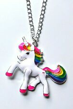 *Rainbow Unicorn* enamel pendant necklace on silver plated chain