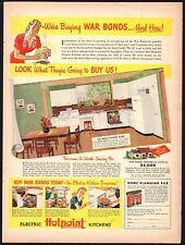 1943 WWII HOTPOINT Metal Kitchen Cabinets Vintage Decor AD WW II Buy Bonds Logo