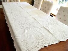 VINTAGE 1940s BIG WHITE LINEN FORMAL TABLECLOTH EMBROIDERY CUTWORK 66X100""