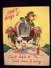 Vtg Greeting Card  BIRTHDAY Old Car  Auto   BEAR  Goose  RUST CRAFT