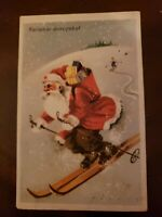 RED robe Santa Claus skiing Hungarian Kellemes ünnepeket Happy Holidays Postcard