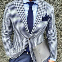 Blue Seersucker Men's Blazer Leisure Sports Fit Groom Party Best Man Prom Custom
