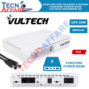 Mini UPS Portatile 30W 240 V AC POE15/24V JACK 12V Power Bank Vultech UPS30PW-DC