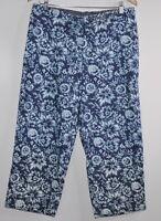 Women's Liz Claiborne blue Floral Cropped Capris Size 14 Pants Light Weight
