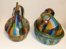 RARE PAIR OF HUGE OLD CHINESE CLOISONNE ENAMEL ROOSTER & HEN MULTI COLORS BOXES