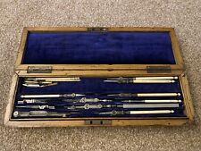 More details for antique drawing & surveying instruments set wooden case, london sheffield c1900