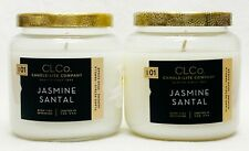 2 CLCo. Candle-Lite Company JASMINE SANTAL Medium Glass Candle 14 oz