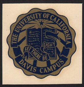 Rare University of California Davis Campus 1960's UC School Seal Original Decal