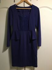 HOLLY WILLOUGHBY BLUE PEPLUM DRESS SIZE 10