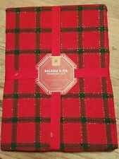 """Balsam & Fir Red, Green and Gold Plaid Tablecloth 60"""" Round Christmas Holiday"""