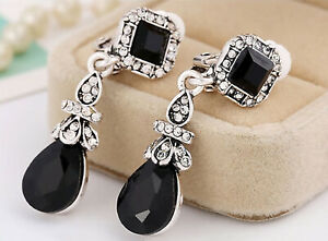 Vintage Style Black and Diamante Teardrop Dangly Clip On Earrings