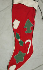 """Vintage Large Felt Christmas Stocking Appliques Embroidery  30"""" long"""