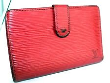 Authentic Louis Vuitton Epi Red Leather Kiss Lock Bifold Wallet Coin Purse MI097