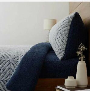 Cozee Home Diamond Textured Faux Fur & Sherpa 3 Piece Duvet Set King Navy Blue