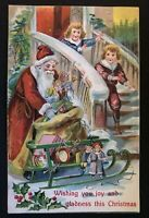 Santa Claus~ with Victorian Children~Sled~Toys~Antique ~Christmas Postcard-s762
