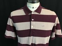 Lacoste Mens 6 XL Extra Large Purple Striped Polo Shirt Vintage Washed