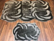 ROMANY WASHABLE GYPSY MATS 4PC SETS NON SLIP CARVED LARGE 75X125CM DARK GREY