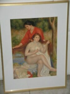 Bather & Maid The Toilet by Pierre Auguste Renoir 1841-1919 French Framed Print