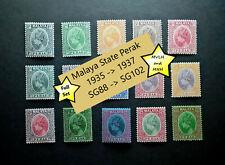 1935 1936 1937 Malaya State Perak  SG88 to SG102  Set of x15  MNH -  MVLH