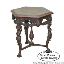Renaissance Revival Antique Marquetry Center Table w/ Figural Carved Women