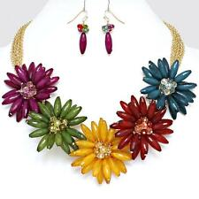 Fashion Necklace Earrings Multi Color Flower Gold Statement Jewelry Set Chunky