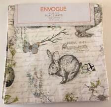 Envogue NEW Placemats Set of 4 EASTER Bunny Rabbit Paris Script Flowers 15 x 15