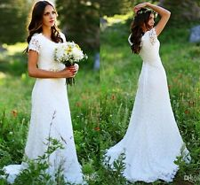 New Bohemian Garden Lace Wedding Dress Short Sleeve Crystals Beaded Bridal Gowns