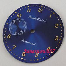Parnis 38.9mm Royal blue dial gold marks Fit ETA 6497 Movement watch dial D101