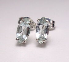 Green BERYL 8x4mm Marquise .925 Sterling Silver Stud Earrings