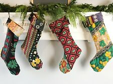 Handmade Kantha BOHO Fabric Christmas Stockings Extra Long 18 Inches Set of 4